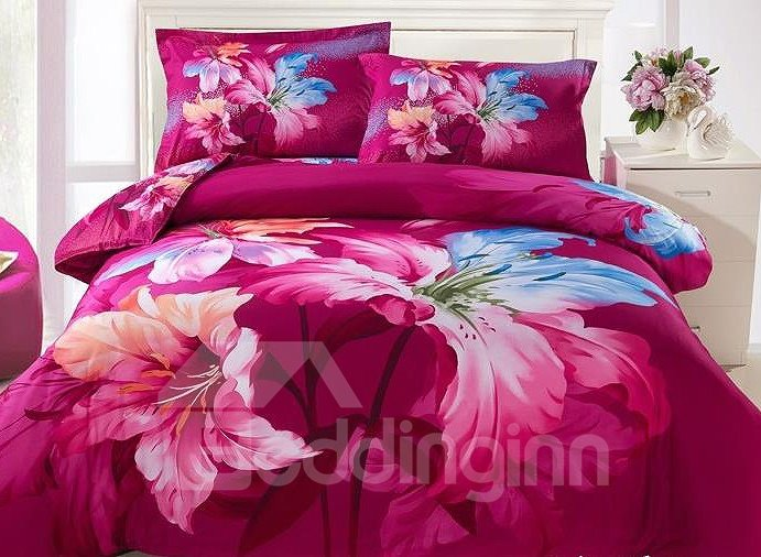Bright Red Flower Oil Painting 4-Piece Cotton Duvet Cover Sets