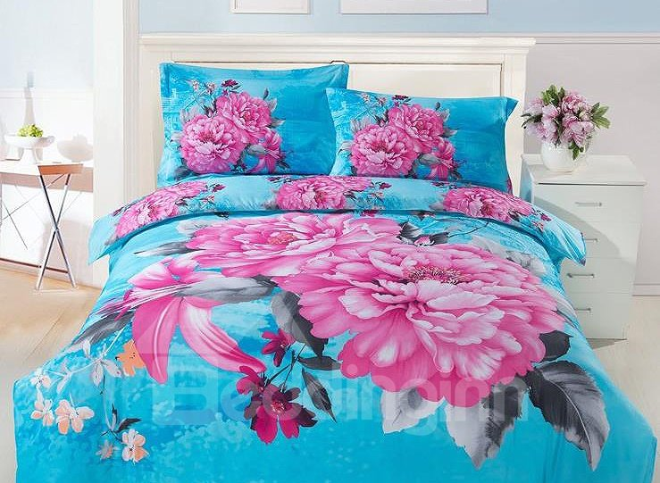 Pink Lily and Peony Print 4-Piece Cotton Duvet Cover Sets