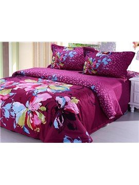Crimson Flower Drawing Print 4-Piece Cotton Duvet Cover Sets
