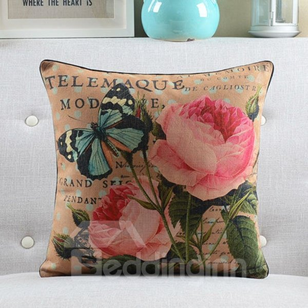 Pink Flowers and Vivid Butterfly Retro Style Throw Pillow