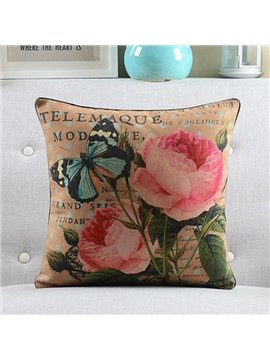 New Arrival Pink Flowers and Vivid Butterfly Retro Style Throw Pillow
