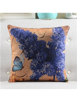 New Arrival Lilac and Butterfly Printed Retro Style Throw Pillow