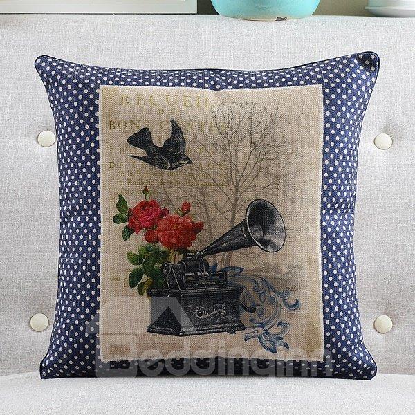 Gramophone Printed Retro Style Throw Pillow