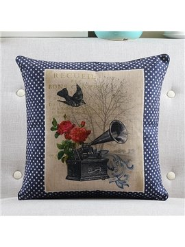 New Arrival Gramophone Printed Retro Style Throw Pillow