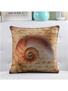 New Arrival Conch Printed Retro Style Throw Pillow
