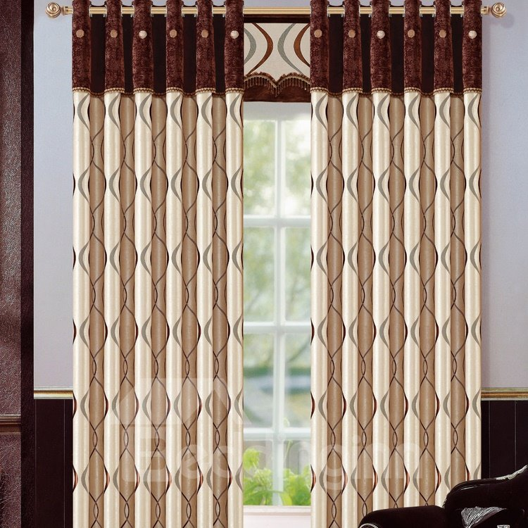 Blackout Polyester Jacquard Fashion Style Waves Pattern Grommet Top Curtain