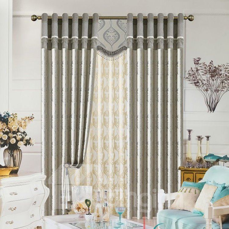 Silver Plant Printing Jacquard Grommet Top Curtain