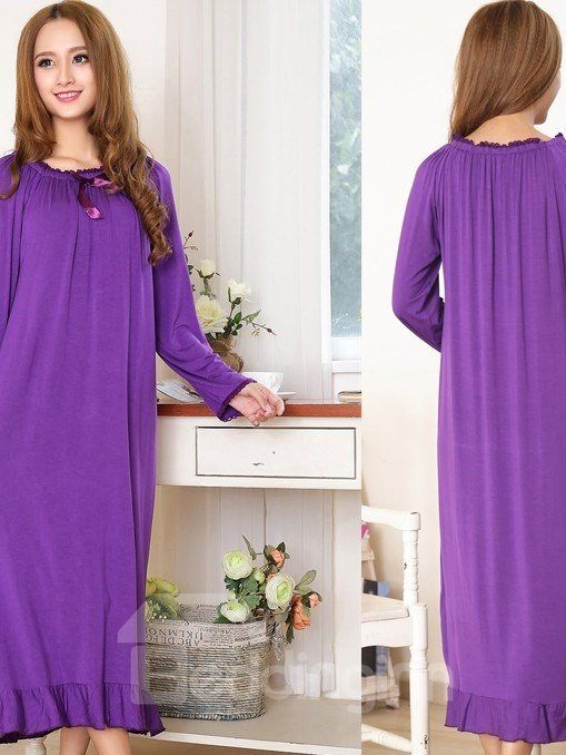 Loose Fit Round Neck Ankle Hit Cotton Nightgown