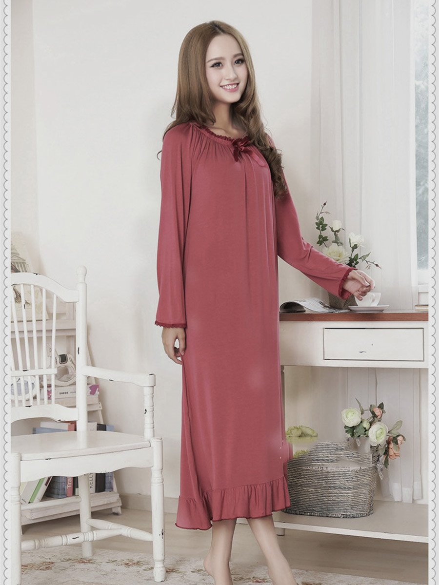 Light Date Red Loose Fit Round Neck Ankle Hit Cotton Nightgown