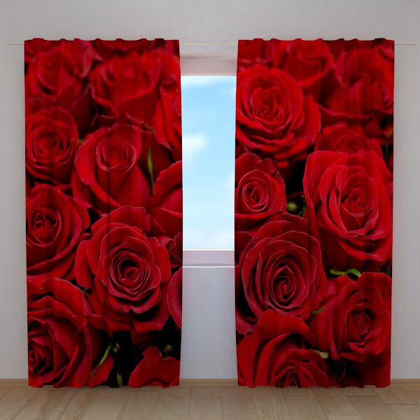 Stunning 3D Red Roses Printing Polyester Blackout Curtain