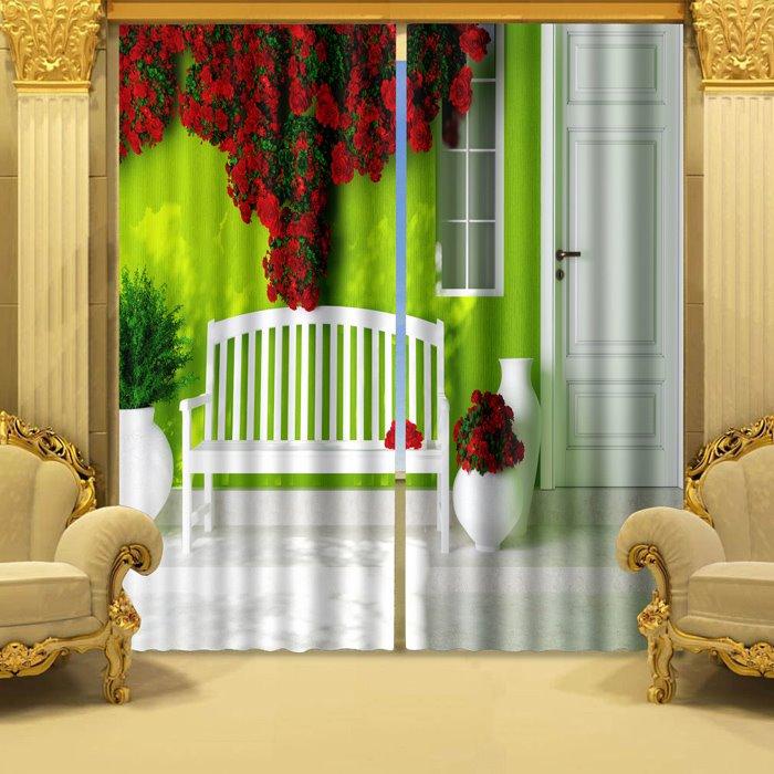 Vivid 3D Romantic Piled Red Roses Blackout Curtain