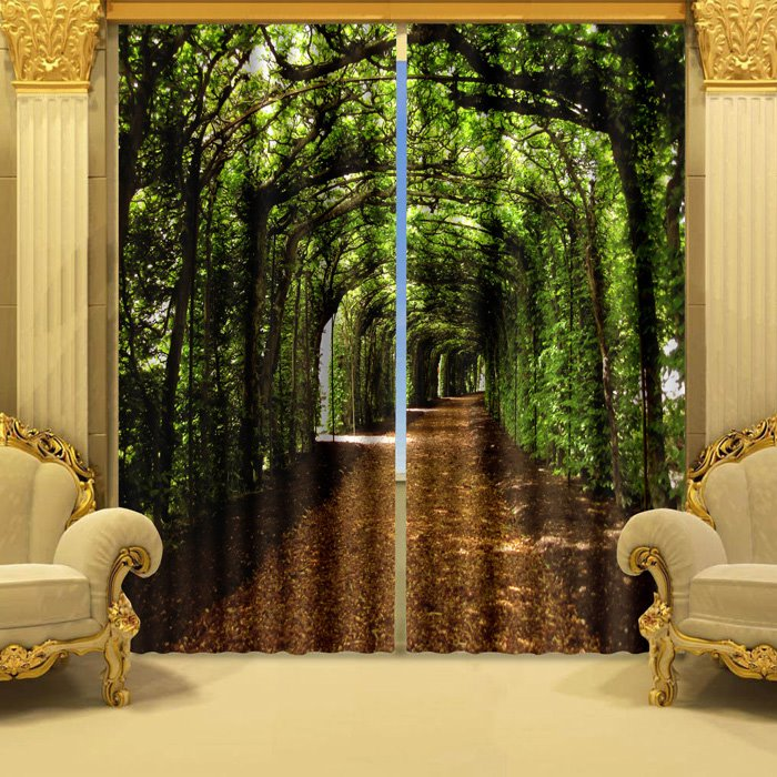 60 3D Fantastic Green Corridor Printed Natural Style Decoration Polyester  Custom Curtain