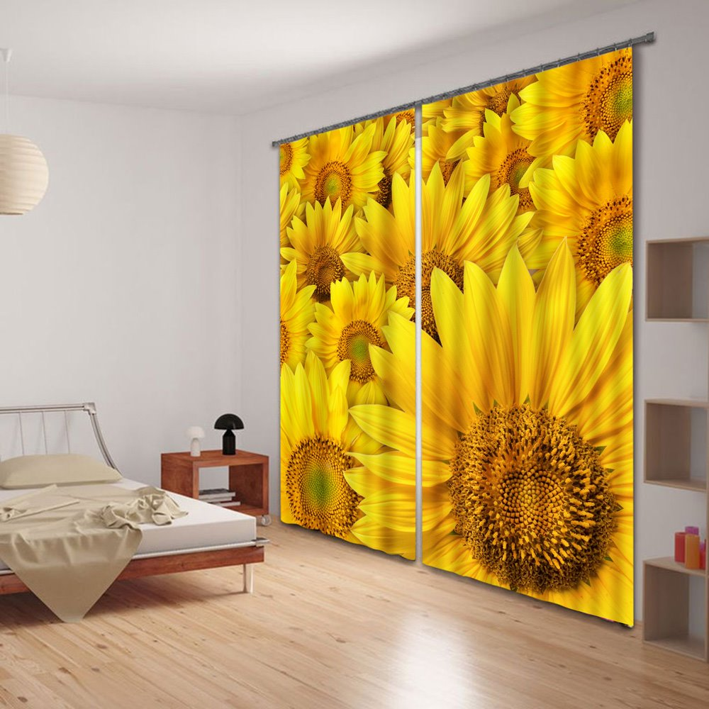 3D Beautiful and Vivid Sunflowers Printed Thick Polyester Decorative and Shading Curtain