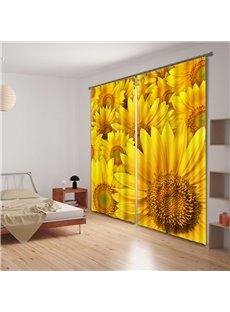 Beautiful Vivid Sunflower Printing 3D Curtain