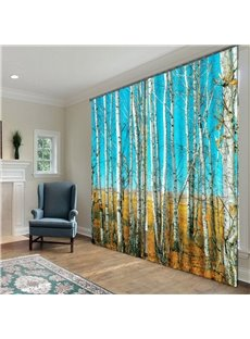 Fantastic Pretty Birch Print Polyester 2-Pieces 3D Curtains