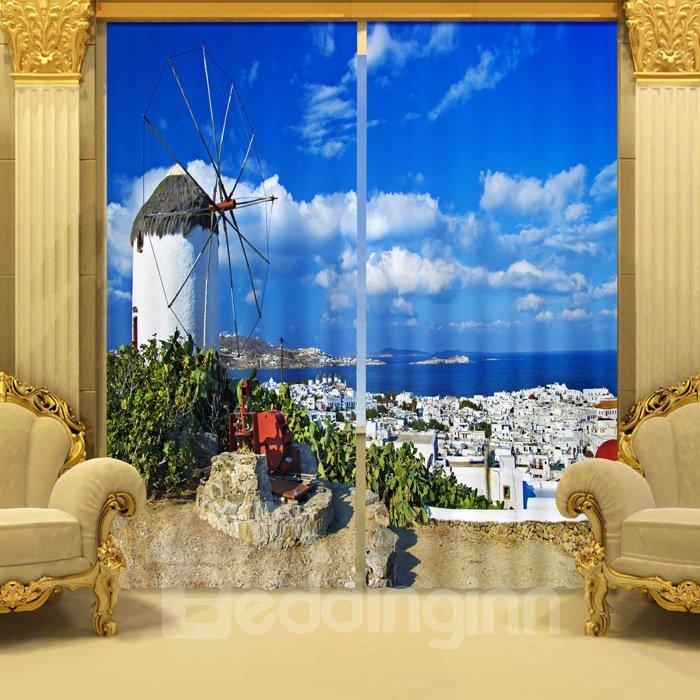 Fantastic 3D Sea And Castle 2 Panels Blackout Curtain