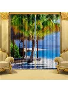 Coconut Tree and Sailboat Printing 2 Panels 3D Curtain