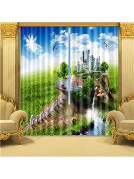 Blue Sky Green Grassland and Modern City Printed 3D Curtain