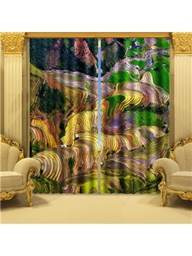 3D Abstract Farm County Life Pattern 2 Panels Blackout Curtain