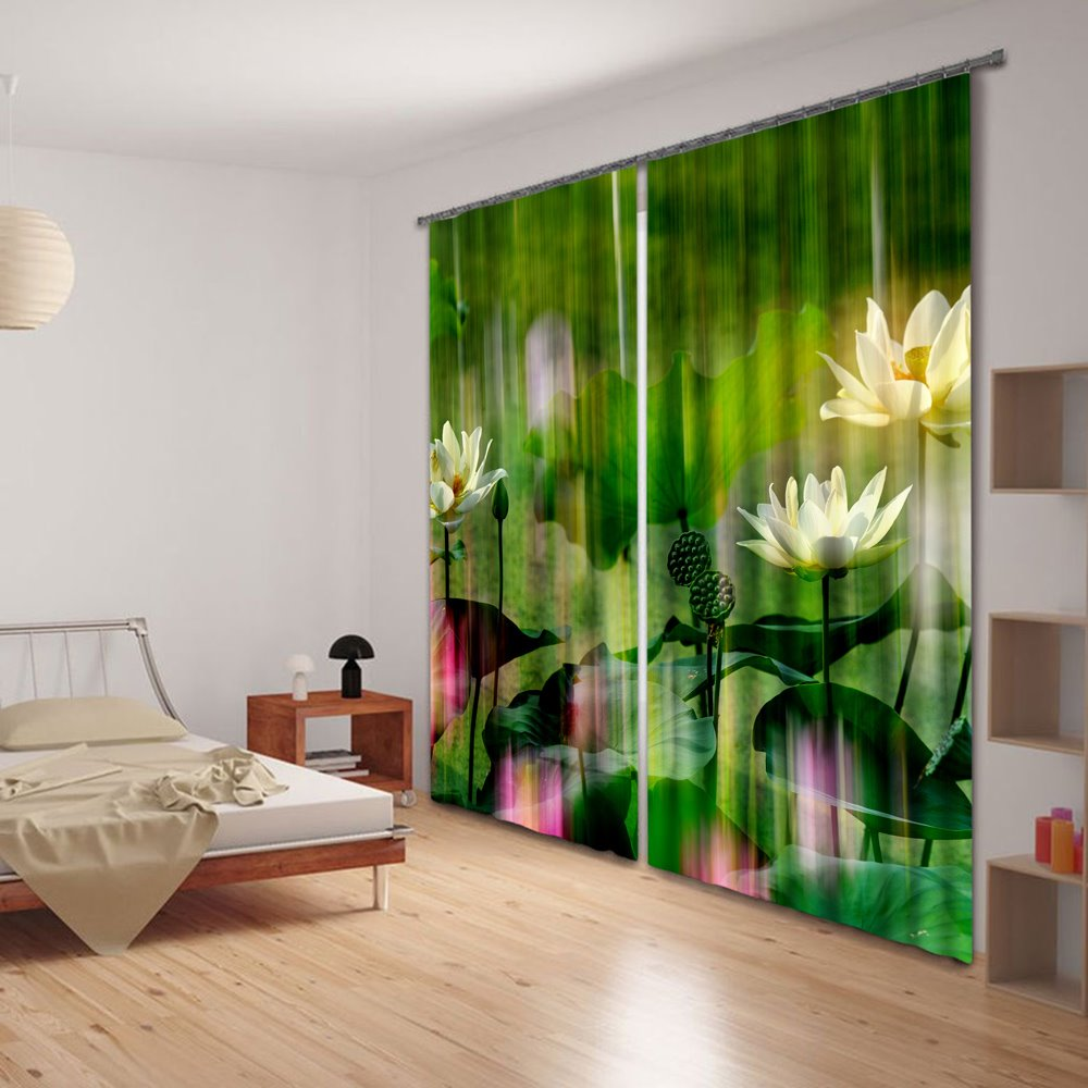 3D Magic Water Lily Hue Printing 2 Panels Curtain