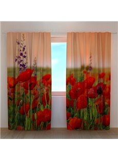 Beautiful Red Flowers in Field Printing 3D Curtain