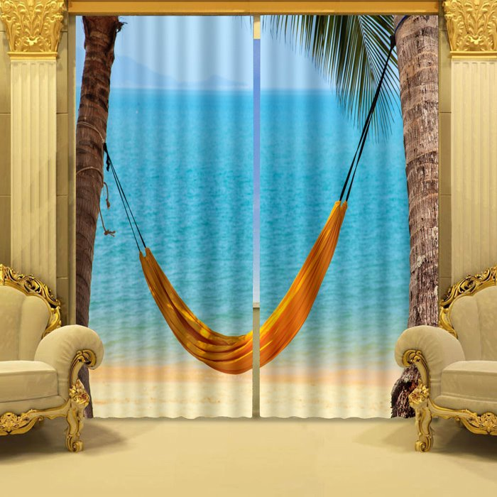 Yellow Hammock and Blue Sea Beach Scenery Decorative Custom 3D Curtain for Living Room