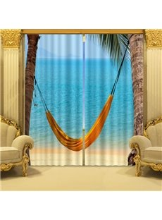 2 Panels Lifelike Sea Hammock Swing 3D Curtain