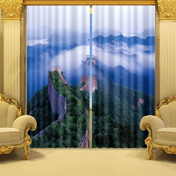 The Great Wall and Mountains with Green Trees Printed 3D Window Curtain