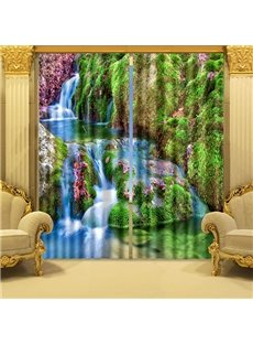 Beautiful Mountain Stream Scenery Energy Saving 3D Curtain