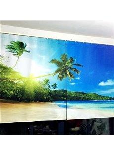 Beautiful Beach Scenery Printing Polyester 3D Curtain