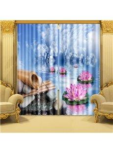 Wonderful Lotus on Water Printing 3D Curtain