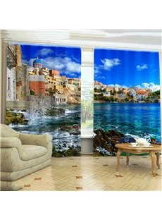 Romantic Sea Life Mysterious Castle Printing 3D Curtain