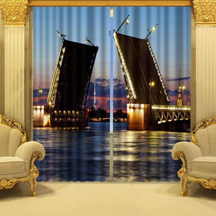 Charming Seaside City of Night Print 3D Blackout Curtain