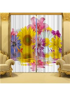 Colorful Flowers in Blossom Printed 3D Curtain