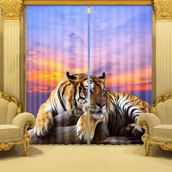 3D Ferocious Crouching Tiger Printed Animal Style Decoration Custom Living Room Curtain