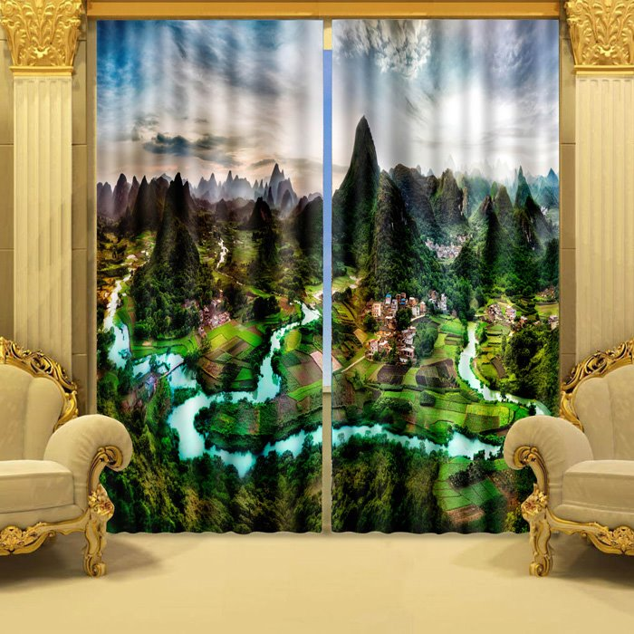 Lifelike 3D Mountain  River Country Life Blackout Curtain