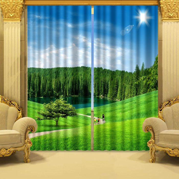 Fresh Nature Scenery Green Grassland and Peaceful River Printed Custom 3D Curtain