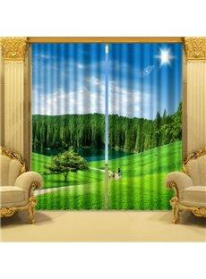 Fresh Nature Scenery Green Grasslands Printing 3D Curtain