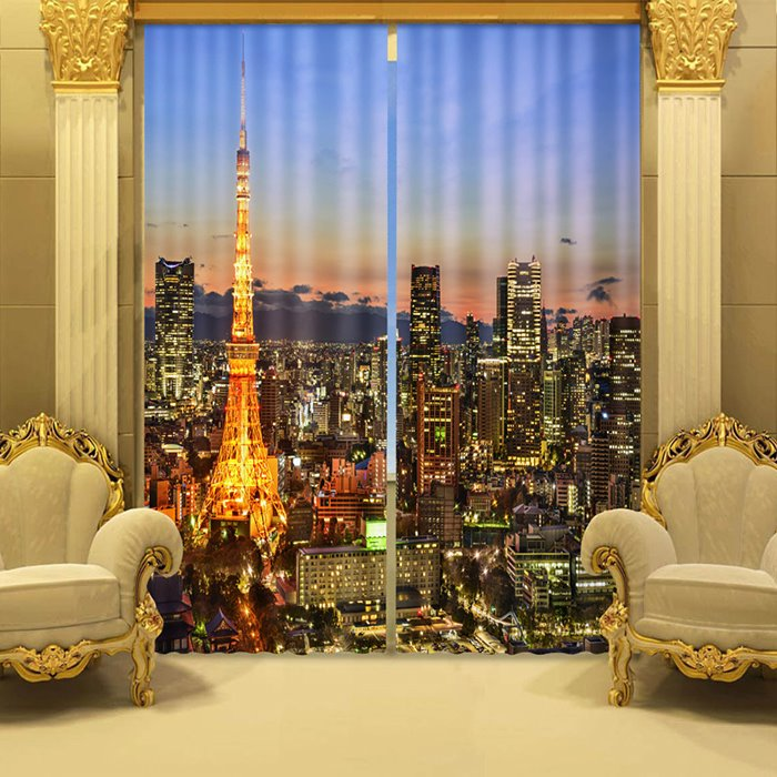 3D Beautiful Night City Printed Polyester Modern Style 2 Panels Custom Blackout Curtain
