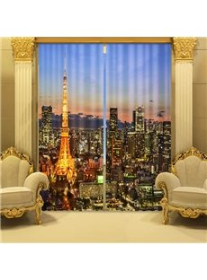 Night Urban Scene 3D Effects Energy Saving Curtain