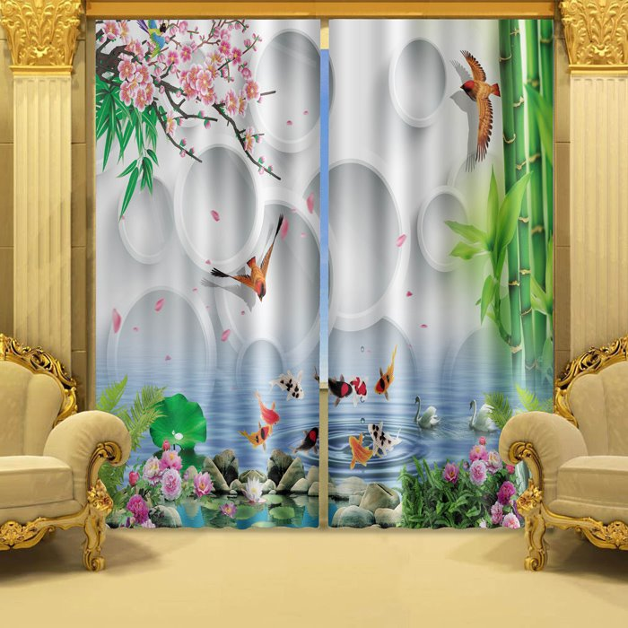 The Blooming Titoni and Fish Swimming in Water Printed 3D Curtain