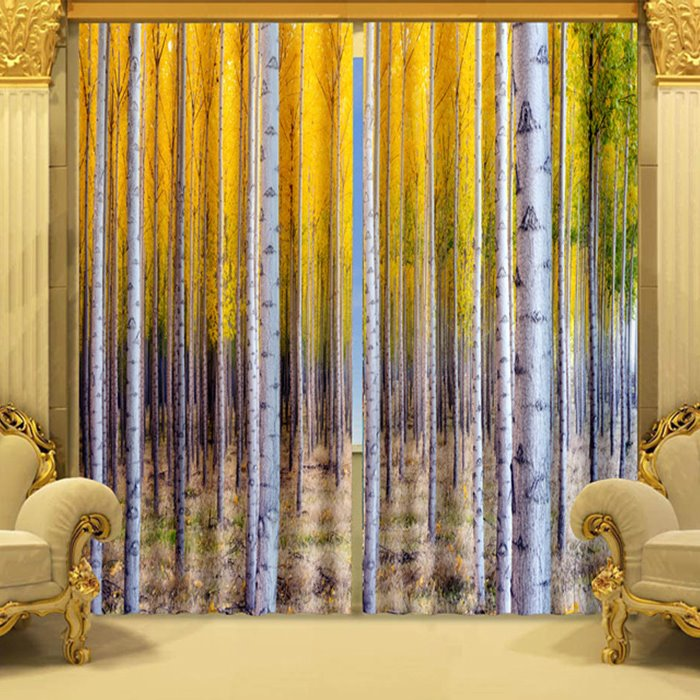Vivid Birch Trees Printed Polyester 2 Panels Custom Living Room 3D Curtain