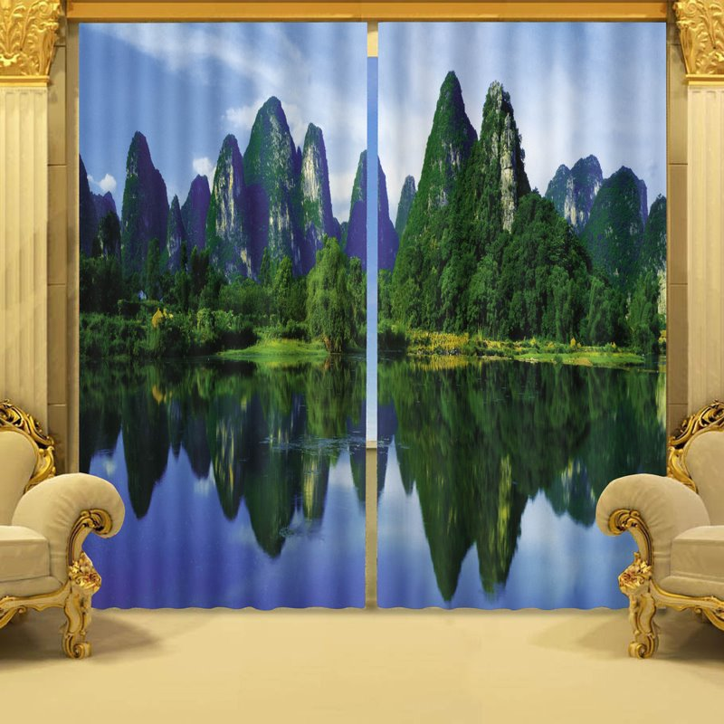 Two Symmetrical Mountains and Rivers Nature Landscape Printing 3D Shading Curtain