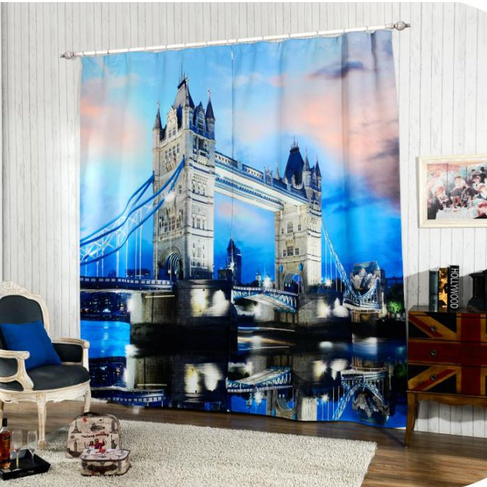 Stunning Tower Bridge At Night Printing 3d Curtain Pic