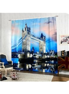 Stunning Tower Bridge at Night Printing 3D Curtain