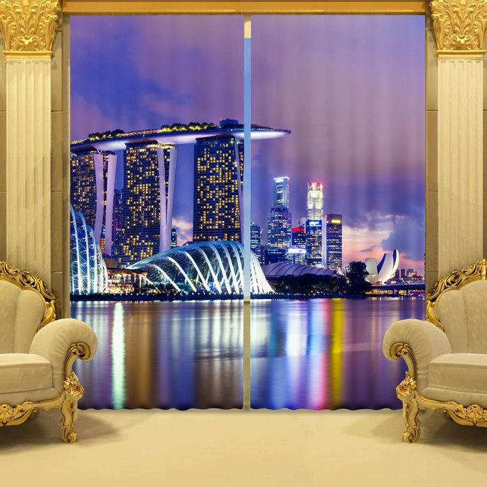 3D Splendid Night Urban Scene Printed Thick Polyester 2 Panels Blackout and Decorative Curtain