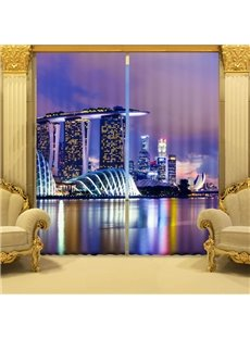 Splendid Urban Scene Printing 3D Curtain