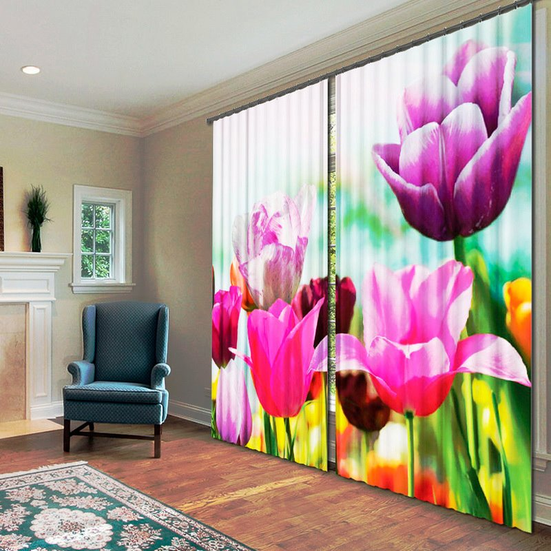 Amazing Big Flowers 2-Piece Polyester 3D Curtains