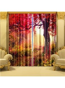 Beautiful Red Tree Print Vibrant Color 3D Curtain