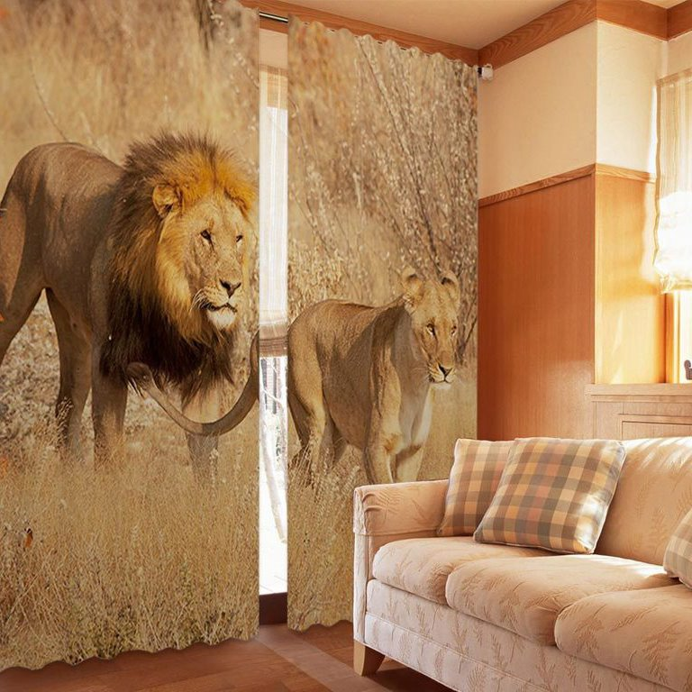 3D Amazing Couple Lions Printed Animal Style Decoration and Blackout Polyester Curtain